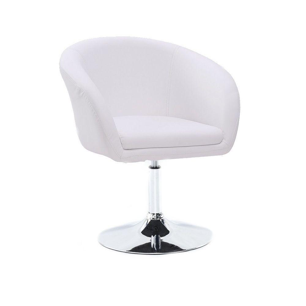 Židle VENICE na stříbrné kulaté podstavě - bílá