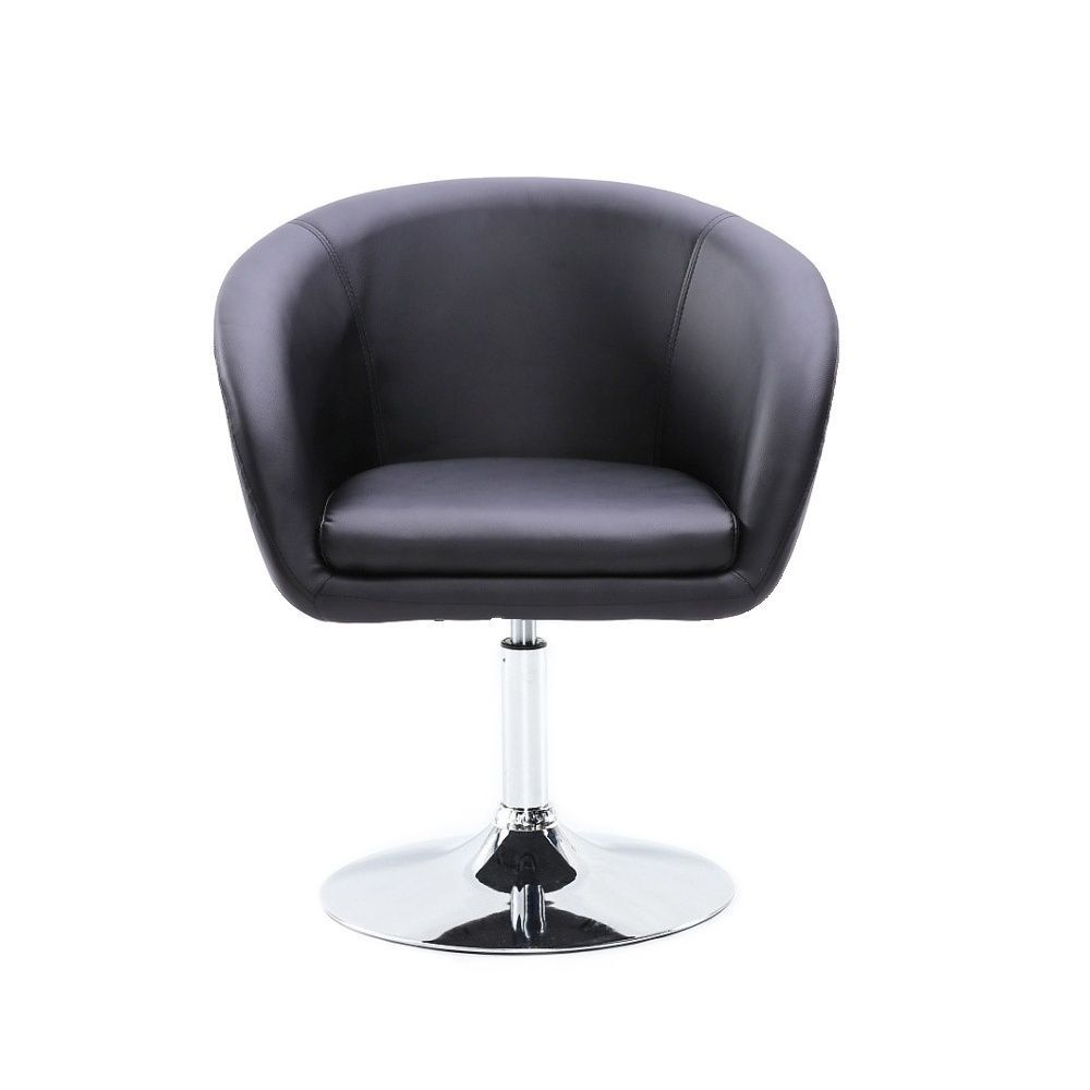 Židle VENICE na stříbrné kulaté podstavě - černá