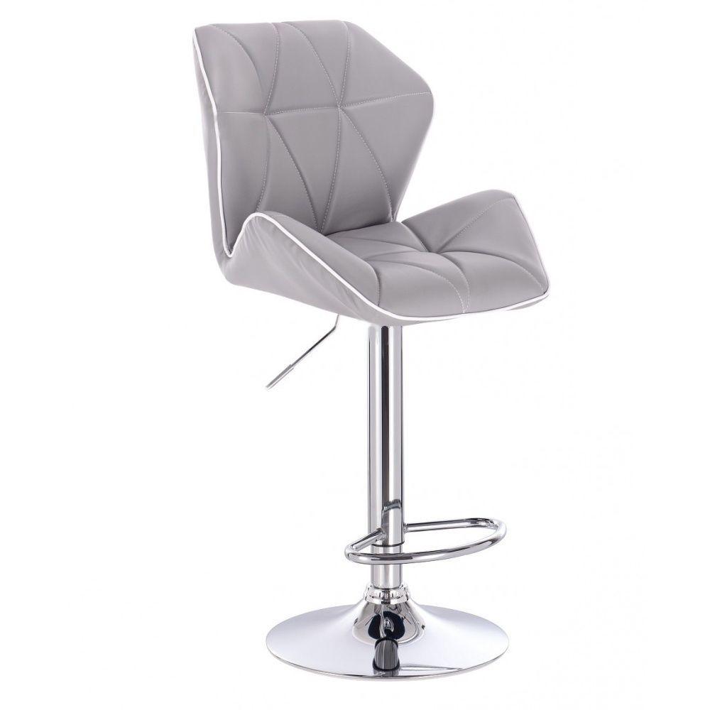 Barová židle MILANO MAX na stříbrném talíři - šedá