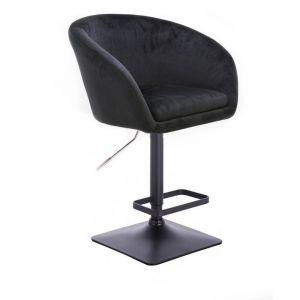 Barová židle VENICE VELUR na černé podstavě - černá