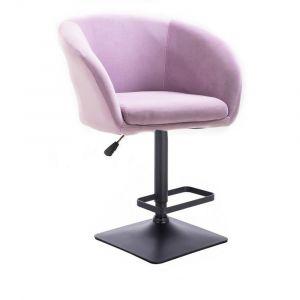 Barová židle VENICE VELUR na černé podstavě - fialový vřes