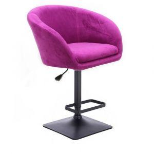Barová židle VENICE VELUR na černé podstavě - fuchsie