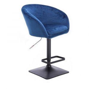 Barová židle VENICE VELUR na černé podstavě - modrá