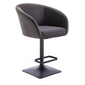 Barová židle VENICE VELUR na černé podstavě - tmavě šedá