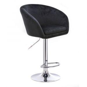 Barová židle VENICE VELUR na stříbrném talíři - černá