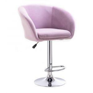 Barová židle VENICE VELUR na stříbrném talíři - fialový vřes