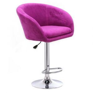 Barová židle VENICE VELUR na stříbrném talíři - fuchsie