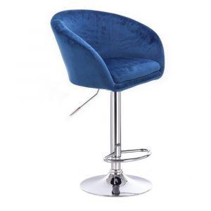Barová židle VENICE VELUR na stříbrném talíři - modrá