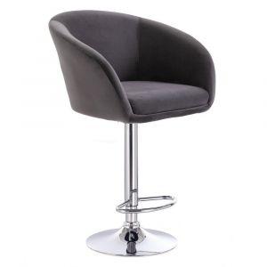 Barová židle VENICE VELUR na stříbrném talíři - šedá