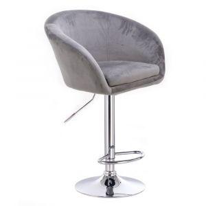 Barová židle VENICE VELUR na stříbrném talíři - světle šedá