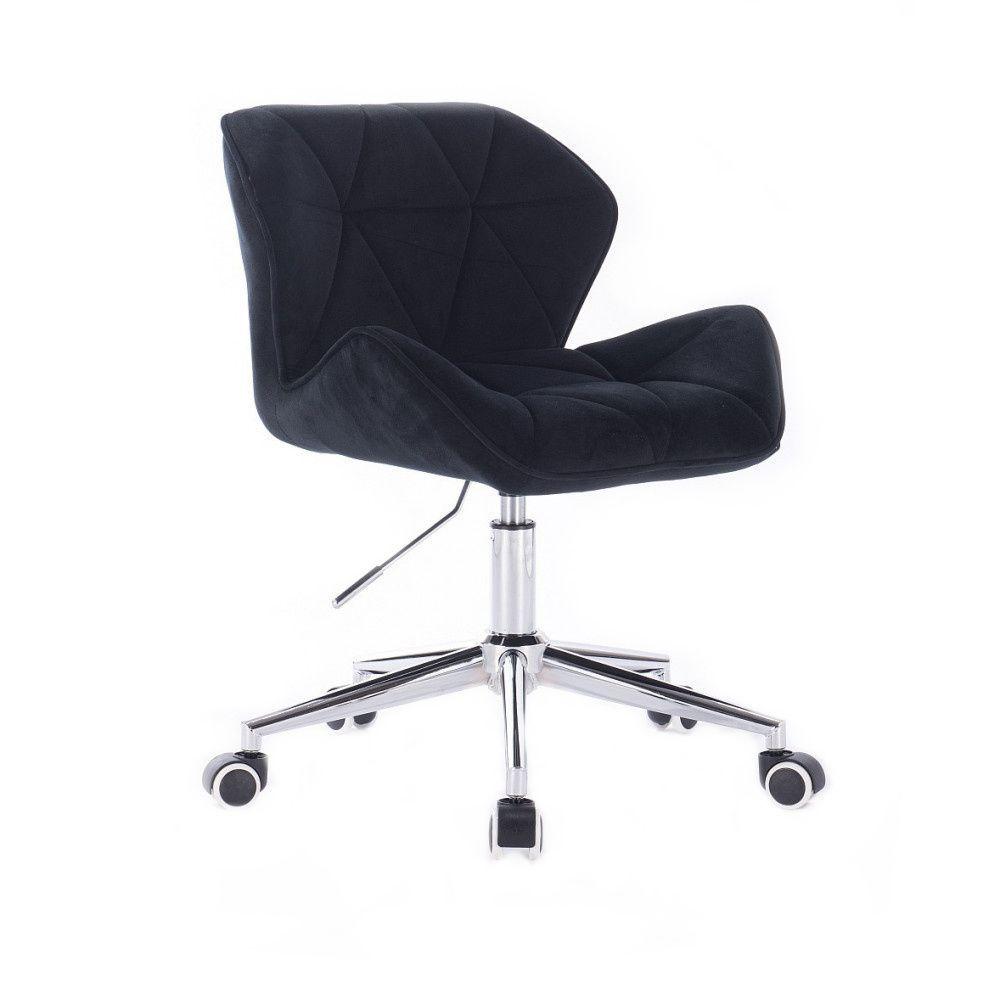 Kosmetická židle MILANO VELUR na stříbrné podstavě s kolečky - černá