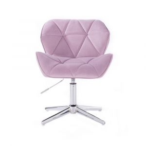 Kosmetická židle MILANO VELUR na stříbrném kříži - fialový vřes