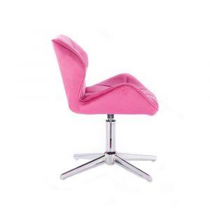 Kosmetická židle MILANO VELUR na stříbrném kříži - růžová