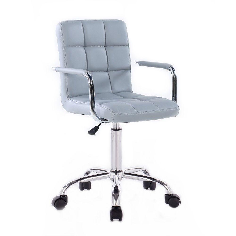 Kosmetická židle VERONA na stříbrné podstavě s kolečky - šedá