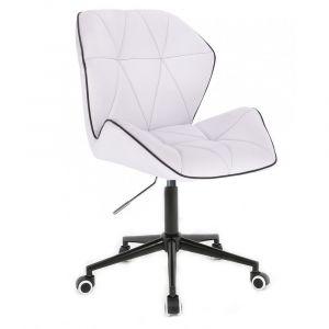 Židle MILANO MAX na černé podstavě s kolečky - bílá