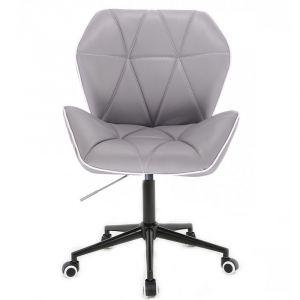 Židle MILANO MAX na černé podstavě s kolečky - šedá