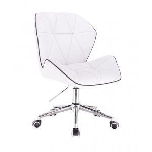 Židle MILANO MAX na stříbrné podstavě s kolečky - bílá