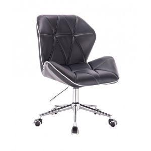 Židle MILANO MAX na stříbrné podstavě s kolečky - černá