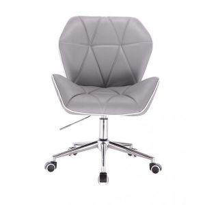 Židle MILANO MAX na stříbrné podstavě s kolečky - šedá