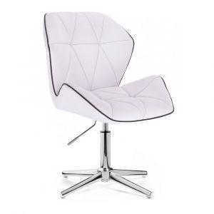 Židle MILANO MAX na stříbrném kříži - bílá
