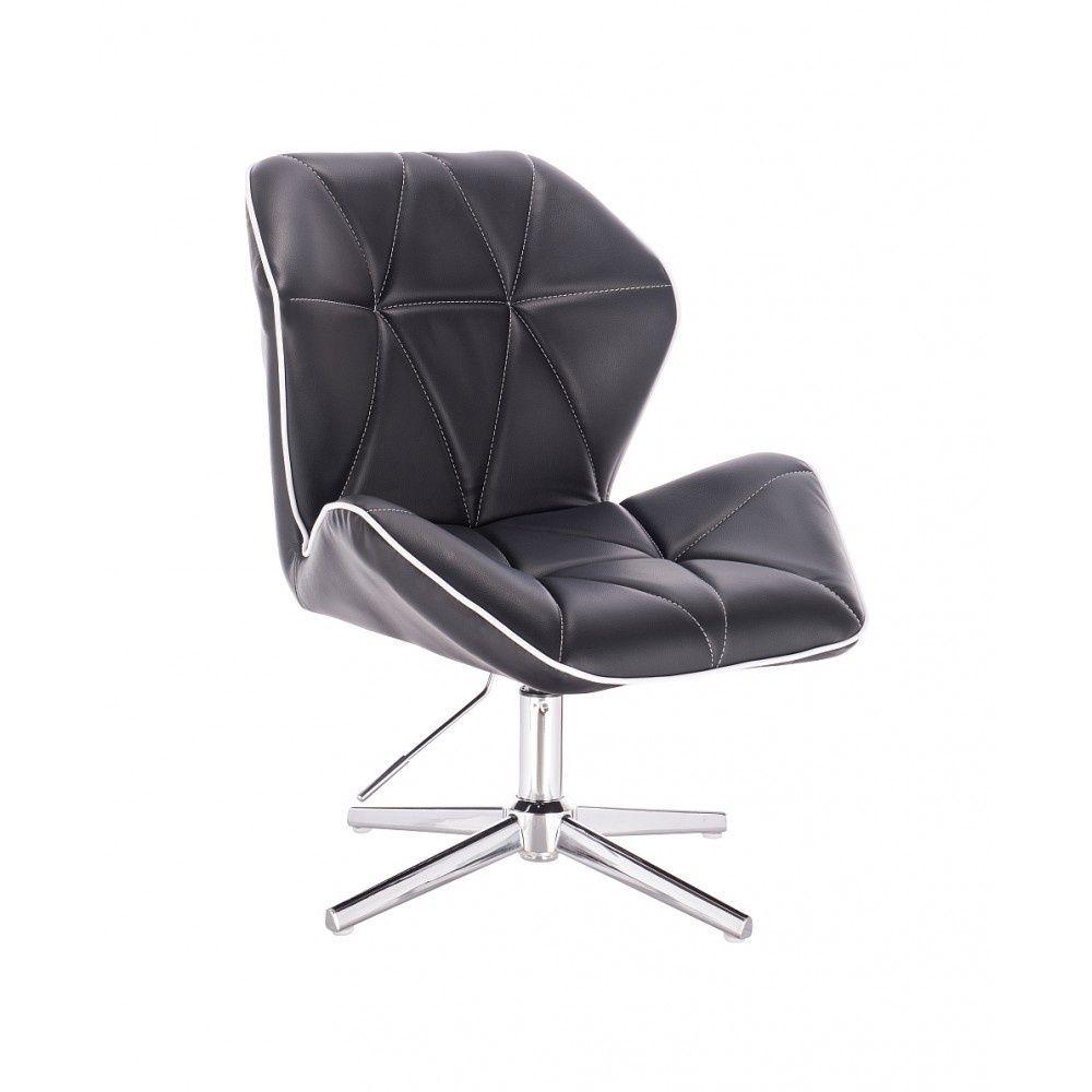 Židle MILANO MAX na stříbrném kříži - černá