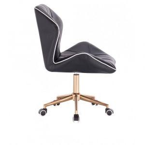 Židle MILANO MAX na zlaté podstavě s kolečky - černá