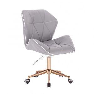 Židle MILANO MAX na zlaté podstavě s kolečky - šedá