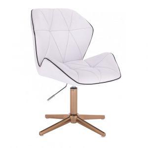Židle MILANO MAX na zlatém kříži - bílá