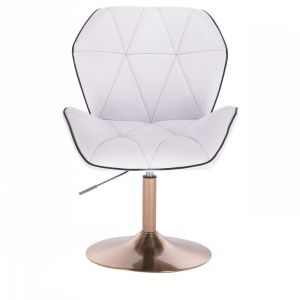 Židle MILANO MAX na zlatém talíři - bílá