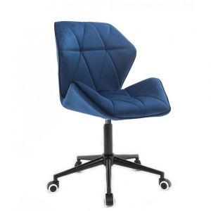 Židle MILANO MAX VELUR na černé podstavě s kolečky - modrá