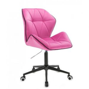 Židle MILANO MAX VELUR na černé podstavě s kolečky - růžová