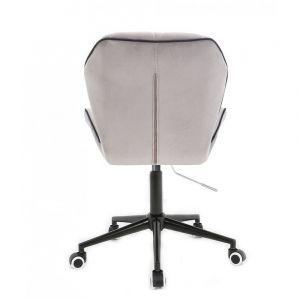 Židle MILANO MAX VELUR na černé podstavě s kolečky - šedá