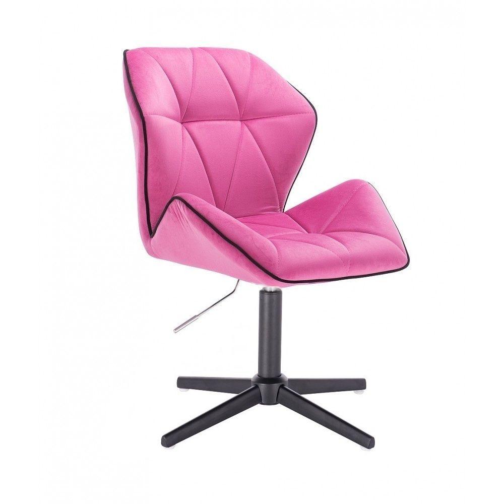 Židle MILANO MAX VELUR na černém kříži - růžová