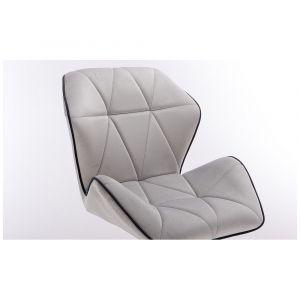 Židle MILANO MAX VELUR na černém kříži - šedá