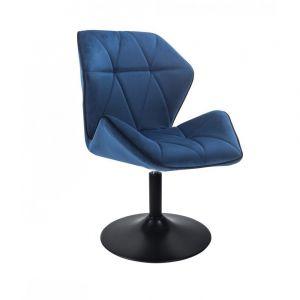 Židle MILANO MAX VELUR na černém talíři - modrá