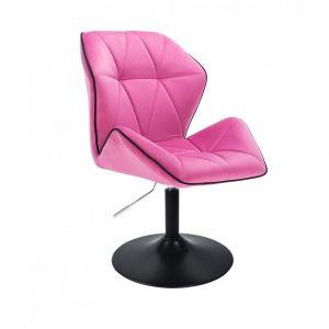 Židle MILANO MAX VELUR na černém talíři - růžová