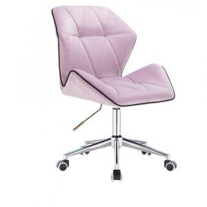 Židle MILANO MAX VELUR na stříbrné podstavě s kolečky - fialový vřes