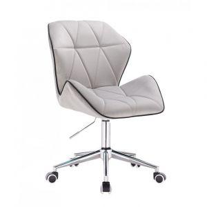 Židle MILANO MAX VELUR na stříbrné podstavě s kolečky - šedá