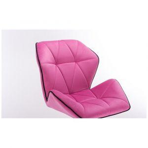 Židle MILANO MAX VELUR na stříbrné podstavě s kolečky - růžová