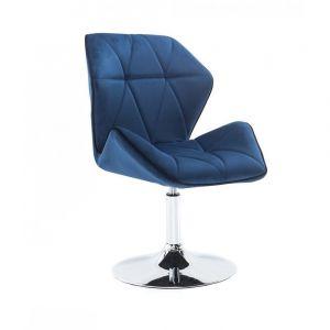 Židle MILANO MAX VELUR na stříbrném talíři - modrá