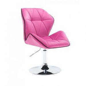 Židle MILANO MAX VELUR na stříbrném talíři - růžová