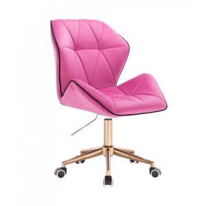 Židle MILANO MAX VELUR na zlaté základně s kolečky - růžová