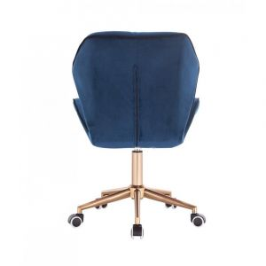 Židle MILANO MAX VELUR na zlaté základně s kolečky - modrá
