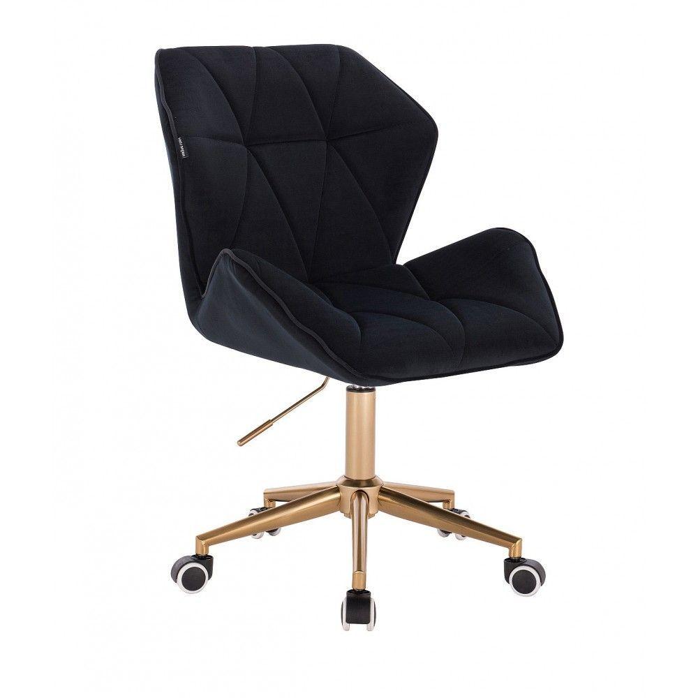 Židle MILANO MAX VELUR na zlaté základně s kolečky - černá