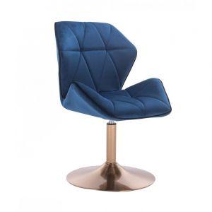 Židle MILANO MAX VELUR na zlatém talíři - modrá