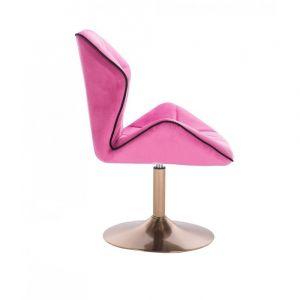 Židle MILANO MAX VELUR na zlatém talíři - růžová