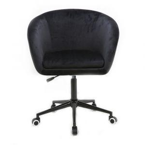 Židle VENICE VELUR na černé podstavě s kolečky - černá