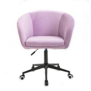 Židle VENICE VELUR na černé podstavě s kolečky - fialový vřes