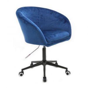 Židle VENICE VELUR na černé podstavě s kolečky - modrá