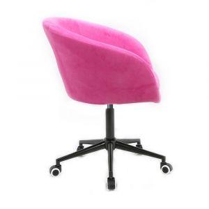 Židle VENICE VELUR na černé podstavě s kolečky - růžová